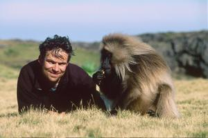 "Co-director Mark Linfield on the set of ""Chimpanzee."""
