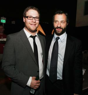 """Seth Rogen and Producer Judd Apatow at the after party of the California premiere of """"Pineapple Express."""""""