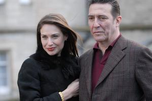 "Claire Forlani and Ciaran Hinds in ""Mister Foe."""