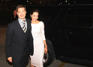 "Brad Pitt and Angelina Jolie at the New Orleans premiere of ""The Curious Case of Benjamin Button."""