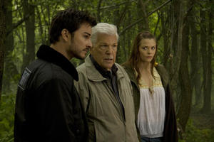 "Kerr Smith as Axel Palmer, Tom Atkins as Burke and Jaime King as Sarah Palmer in ""My Bloody Valentine."""