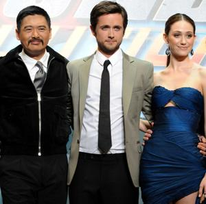 "Chow Yun-Fat, Justin Chatwin and Emmy Rossum at the world premiere of ""Dragonball Evolution."""