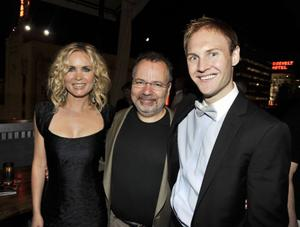 """Radha Mitchell, director Jonathan Mostow and James Francis Ginty at the after party of the California premiere of """"Surrogates."""""""