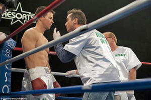 "Mark Wahlberg as Micky Ward and Christian Bale as Dickie Eklund in ""The Fighter."""