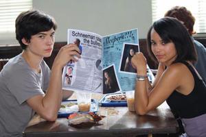 "Ezra Miller and Zoe Kravitz in ""Beware the Gonzo."""