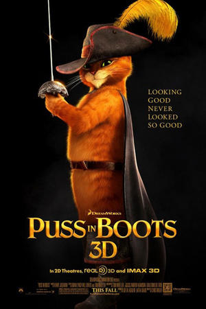 """Poster art for """"Puss in Boots 3D."""""""