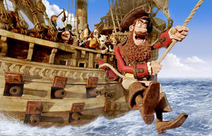 "Pirate Captain voiced by Hugh Grant in ""Pirates! Band of Misfits."""