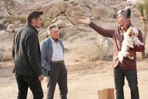 "Colin Farrell, Christopher Walken and Sam Rockwell in ""Seven Psychopaths."""