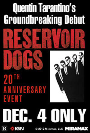 "Poster art for ""Tarantino XX: Reservoir Dogs 20th Anniversary Event."""
