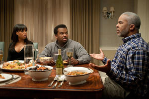 "Kerry Washington as Grace Peeples, Craig Robinson as Wade Walker and David Alan Grier as Virgil Peeples in ""Peeples."""