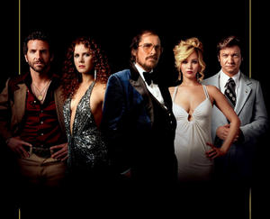 "Bradley Cooper, Amy Adams, Christian Bale, Jennifer Lawrence and Jeremy Renner in ""American Hustle."""