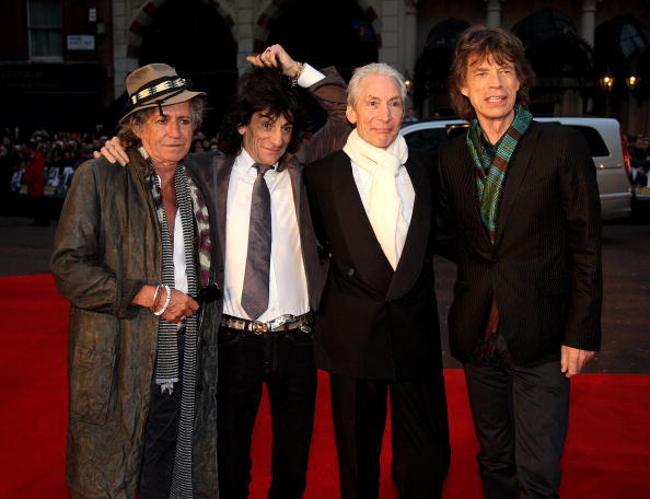 Rolling Stones Keith Richards, Ronnie Wood, Charlie Watts and Mick Jagger at the London premiere of