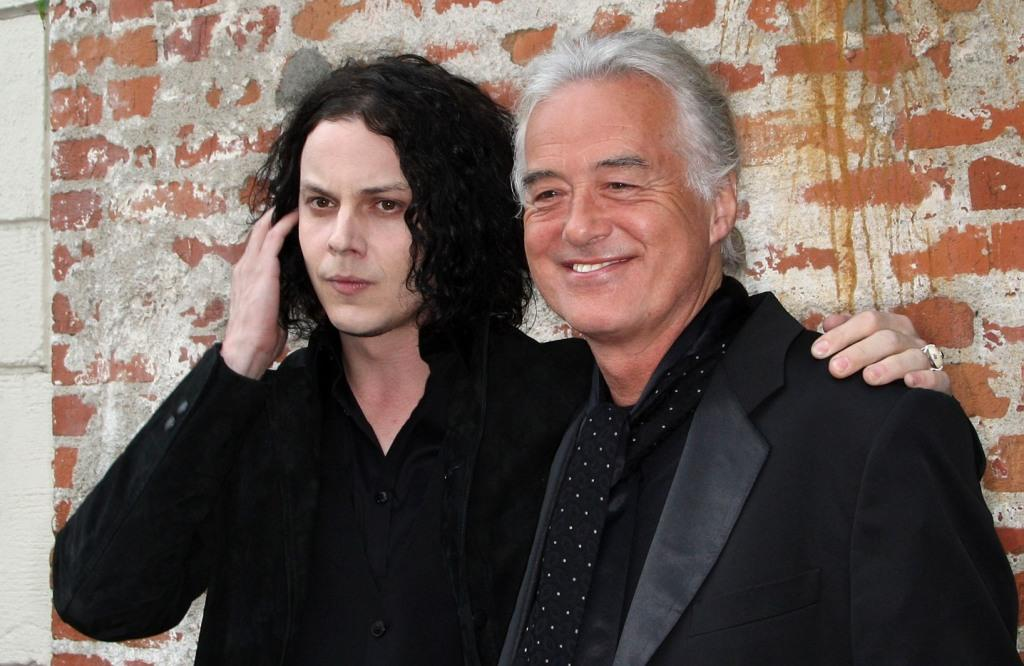 Jack White and Jimmy Page at the California premiere of