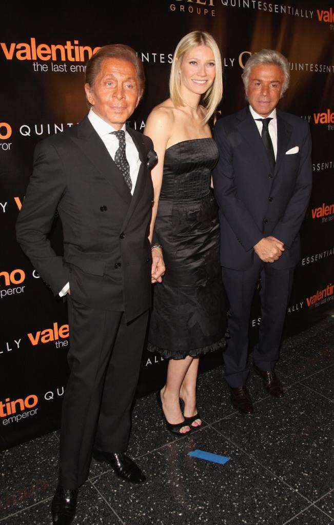 Valentino Garavani, Gwyneth Paltrow and Giancarlo Giammetti at the New York premiere of