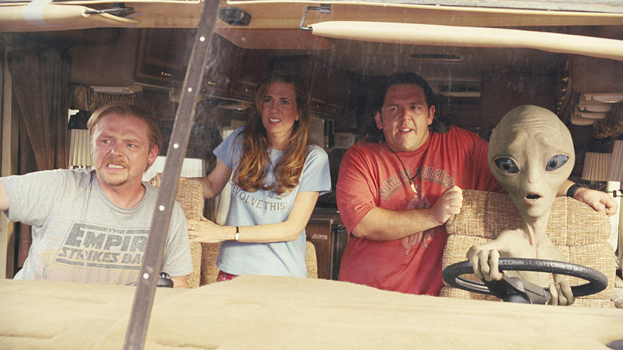 Simon Pegg as Graeme, Kristen Wiig as Ruth Buggs, Nick Frost as Clive and Paul voiced by Seth Rogen in