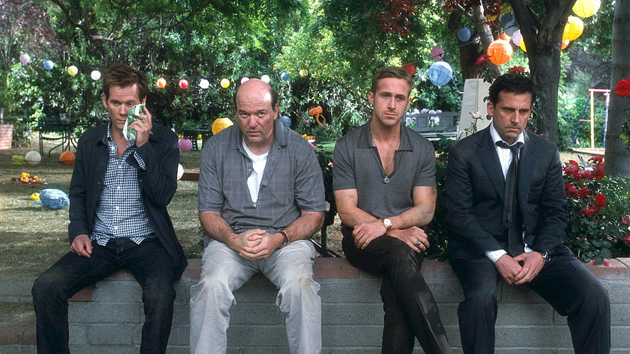 "Kevin Bacon as David Lindhagen, John Carroll Lynch as Bernie, Ryan Gosling as Jacob Palmer and Steve Carell as Cal Weaver in ""Crazy, Stupid, Love."""
