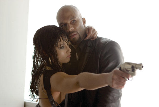 Assassin Georgia Sykes (Alicia Keys) and her rescuer, bodyguard Sir Ivy (Common) in