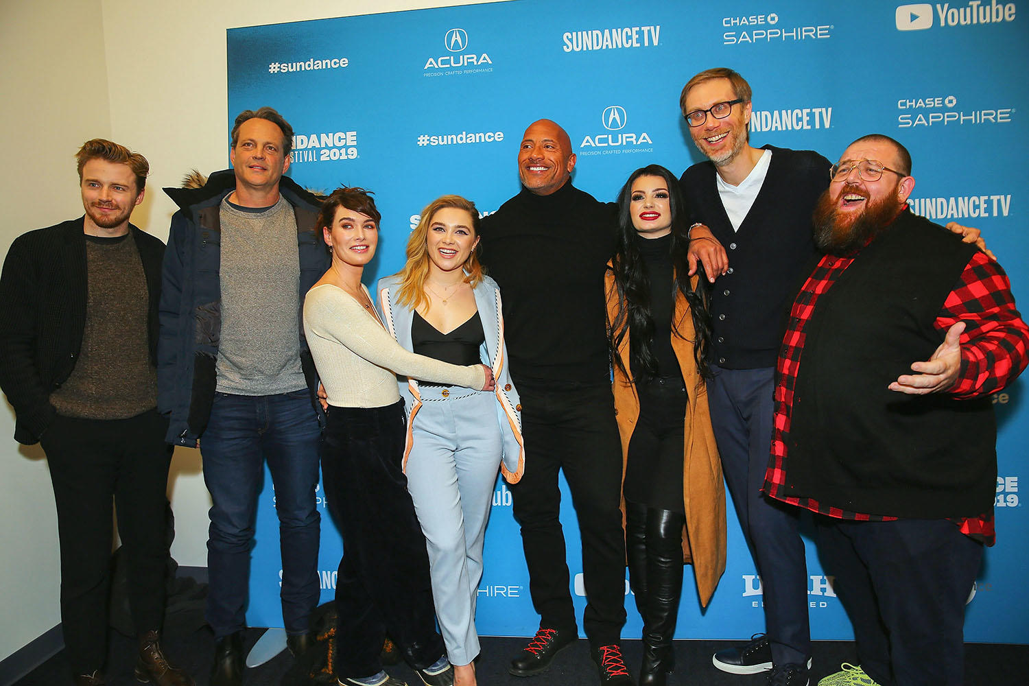 Jack Lowden, Vince Vaughn, Lena Headey, Florence Pugh, Dwayne Johnson, Paige, Stephen Merchant and Nick Frost