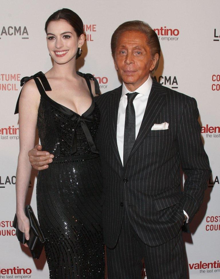 Anne Hathaway and Valentino at the Los Angeles premiere of