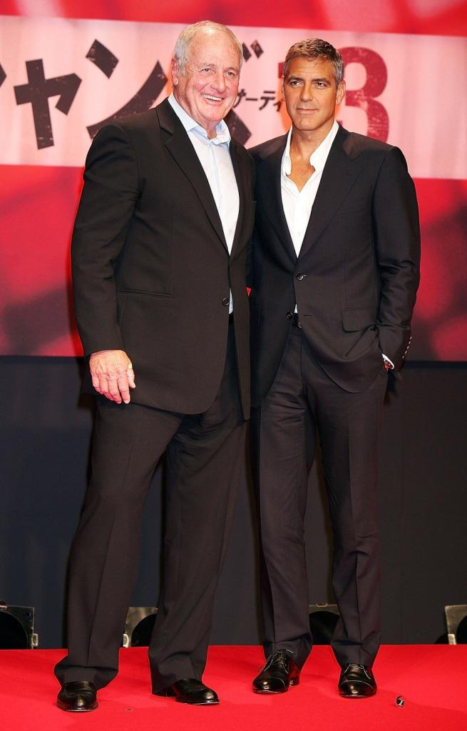 Jerry Weintraub and George Clooney at the press conference to promote