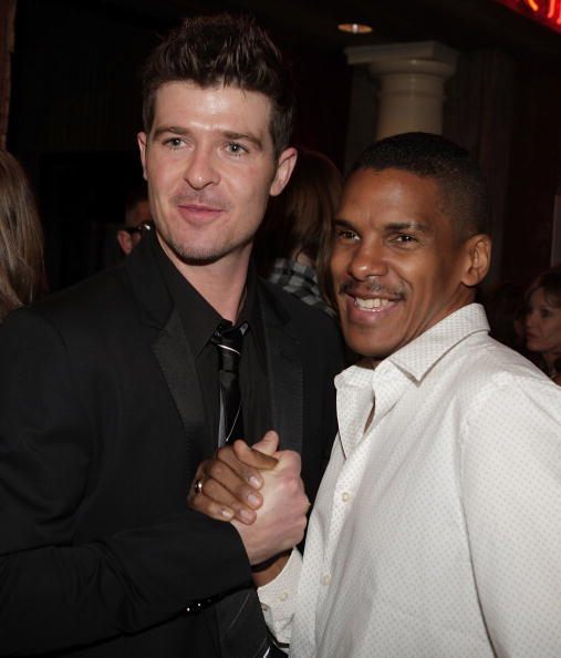 Robin Thicke and Christopher Broughton at the VMA Fandemonium: A Concert To Benefit Lifebeat.