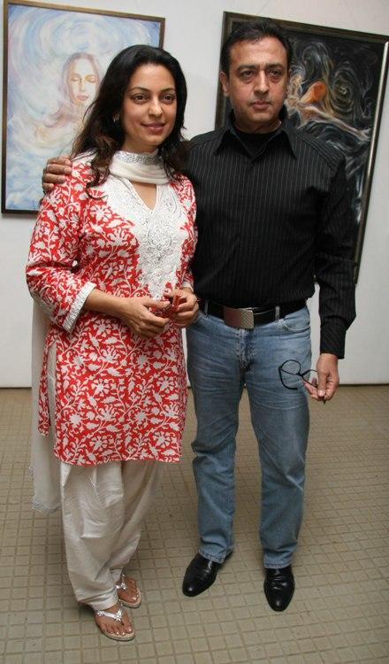 Juhi Chawla and Gulshan Grover at the opening of an exhibition in Mumbai.