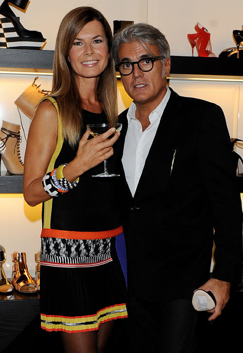 Federica Moro and Giuseppe Zanotti at the Milan Fashion Week in Italy.