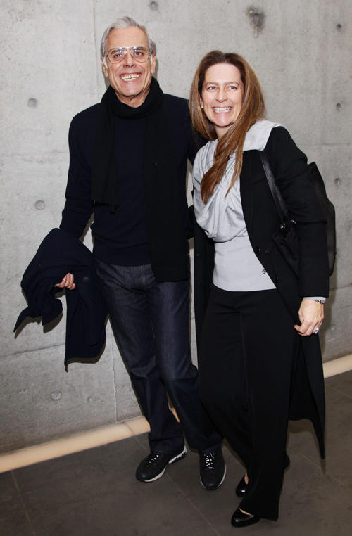 Teo Teocoli and Elena at the Giorgio Armani Fashion Show as part of Milan Fashion Week Womenswear Autumn/Winter 2011.