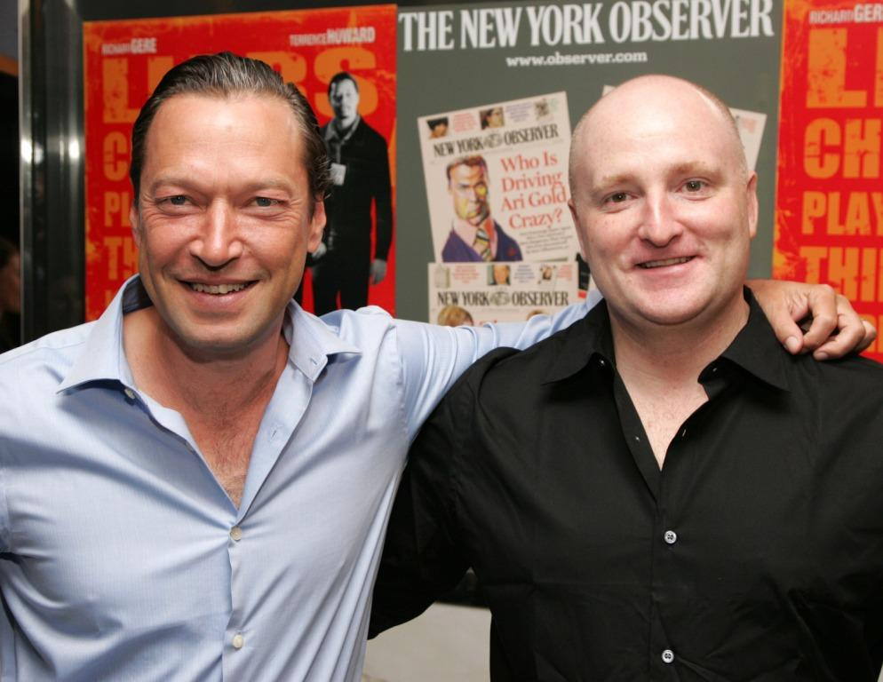 Scott Anderson and John Falk at the New York premiere of