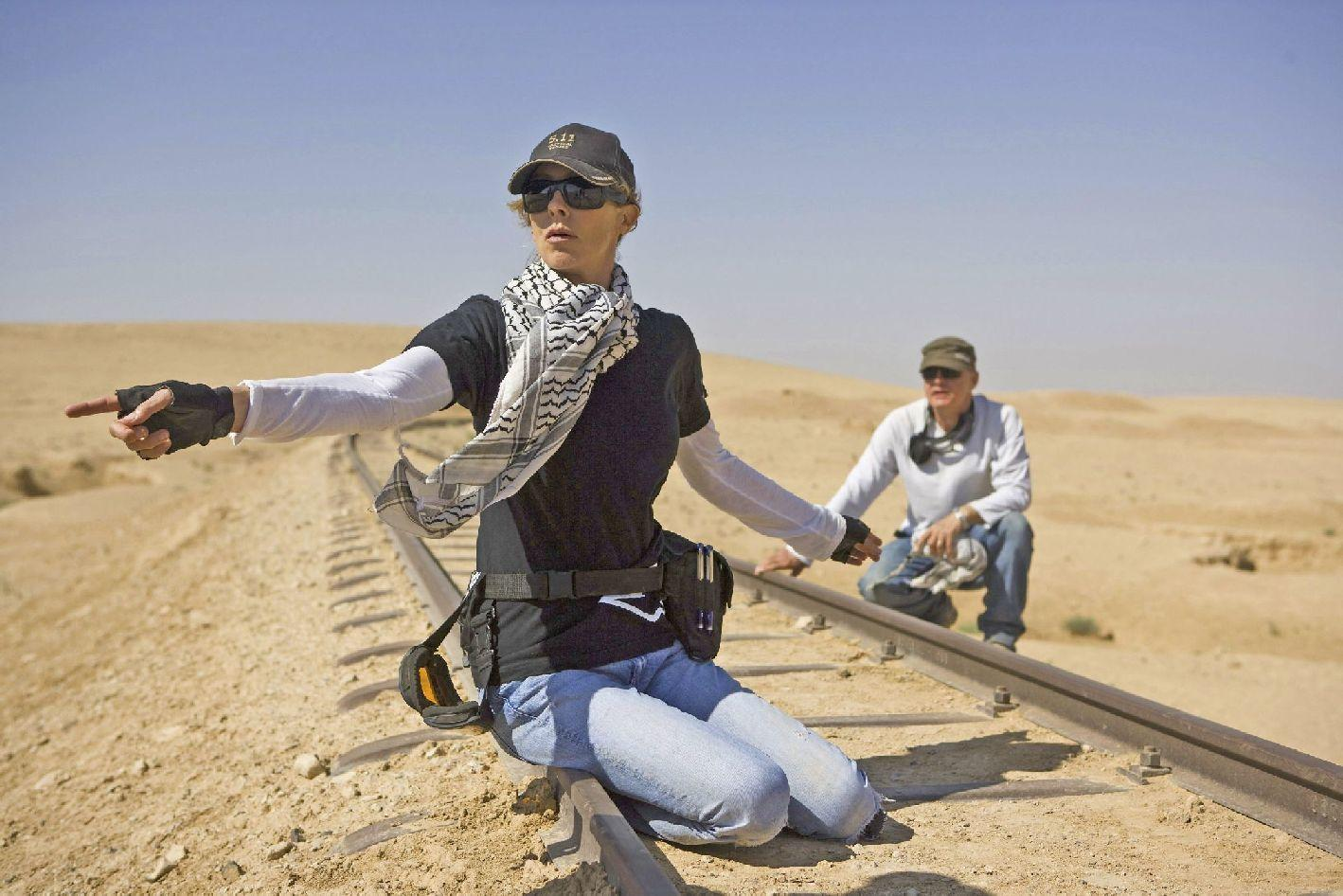 Director Kathryn Bigelow and Barry Ackroyd on the set of