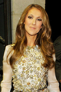 Singer Celine Dion backstage during the 52nd Annual GRAMMY Awards held at Staples Center.