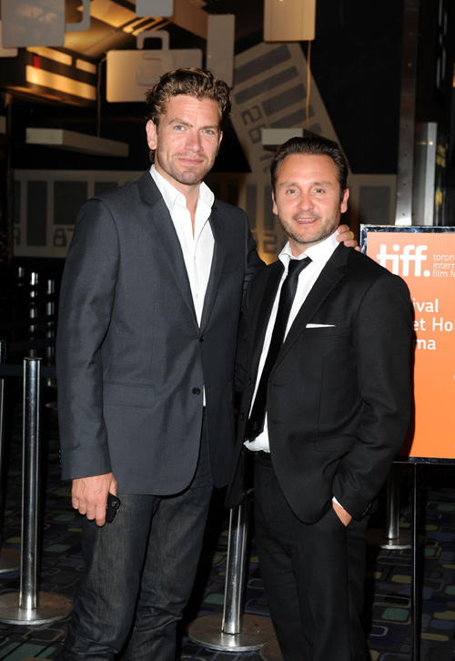 Nikolaj Lie Kaas and Lars Ranthe at the premiere of