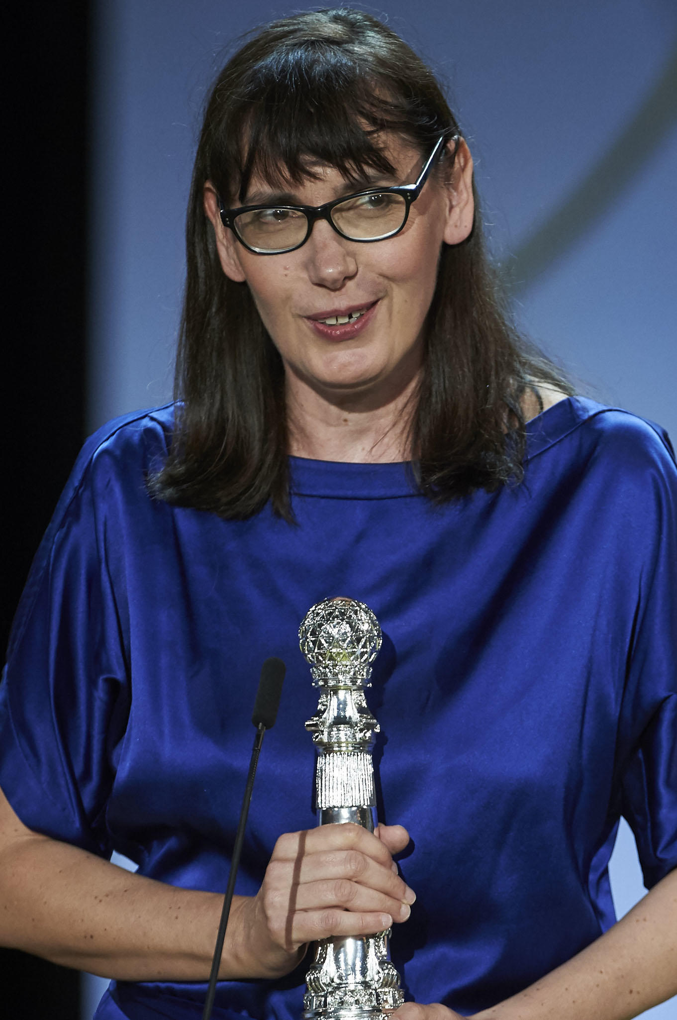 Lucile Hadzihalilovic during the closing ceremony of the 63rd San Sebastian Film Festival.