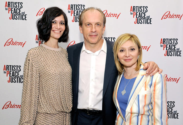 Nicole Briata, Tomas Arana and Silvia Damian at the Brioni Rodeo Drive Boutique opening in California.