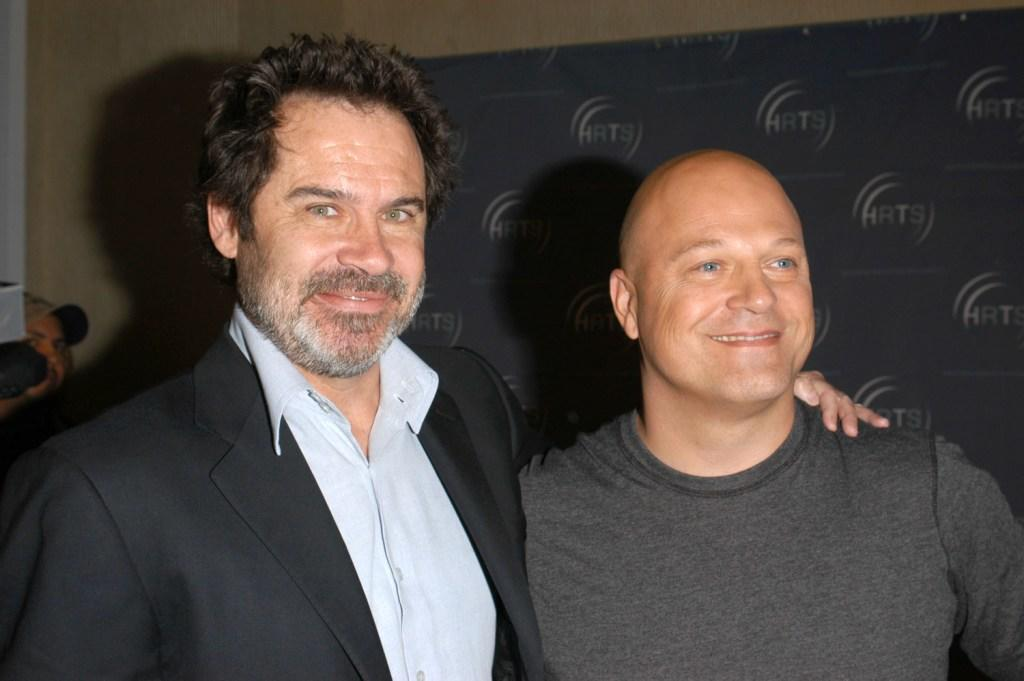 Dennis Miller and Michael Chiklis at the Hollywood Radio and Television Society newsmaker luncheon series