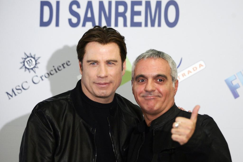 John Travolta and Giorgio Panariello at the 56th Italian music Festival.