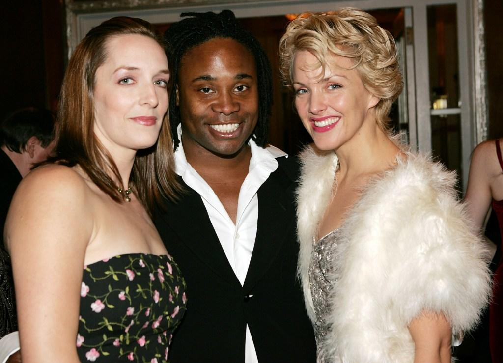 Julia Murney, Billy Porter and Alice Ripley at the cocktail reception of Actors' Fund of America gala.