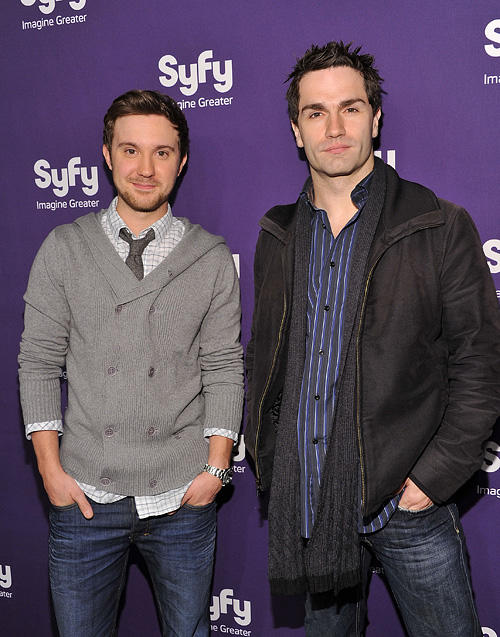 Sam Huntington and Sam Witwer at the Syfy 2011 Upfront in New York.