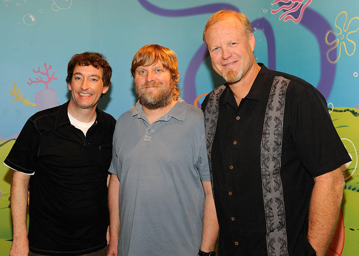Tom Kenny, Executive Producer Paul Tibbitt and Bill Fagerbakke at the Madame Tussauds in New York.