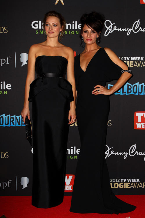 Chelsie Preston Crayford and Danielle Cormack at the 2012 Logie Awards.