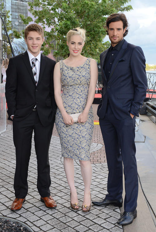Connor Jessup, Charlotte Sullivan and Charlie Carrick at the Board Gala: The Night That Never Ends during the 2012 Toronto International Film Festival.