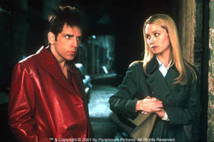 Ben Stiller as Derek and Christine Taylor as Mathilda in Paramount's Zoolander.