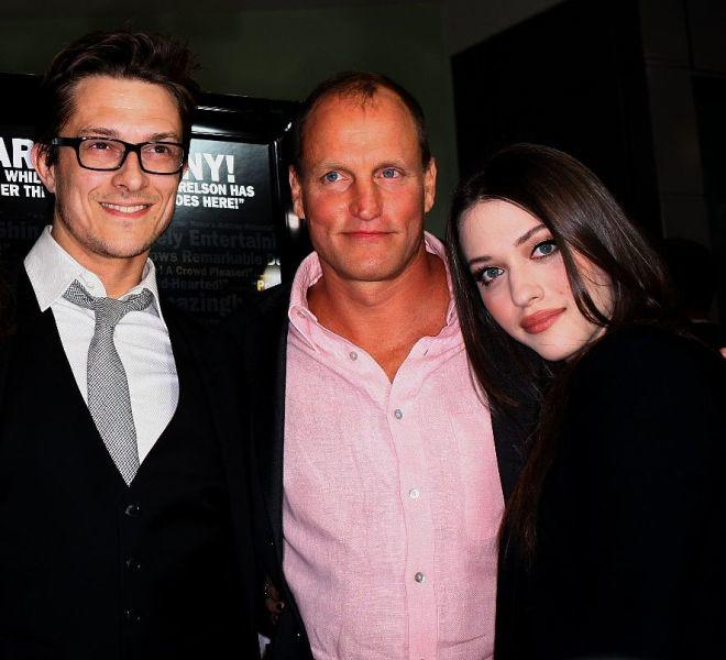 Peter Stebbings, Woody Harrelson and Kat Dennings at the premiere of