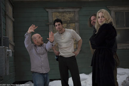 Director David Slade, Josh Harnett, Mark Boone Junior and Melissa George on the set of
