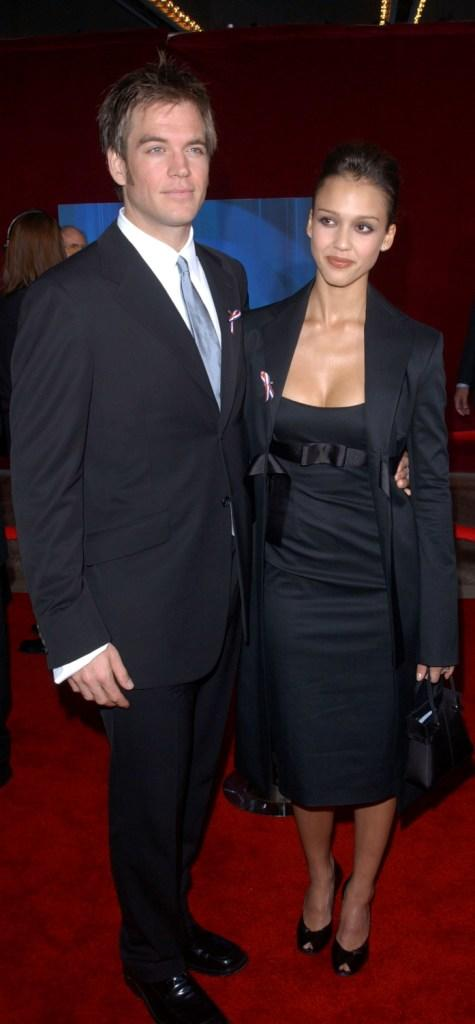 Michael Weatherly and Jessica Alba at the 53rd Annual Primetime Emmy Awards.