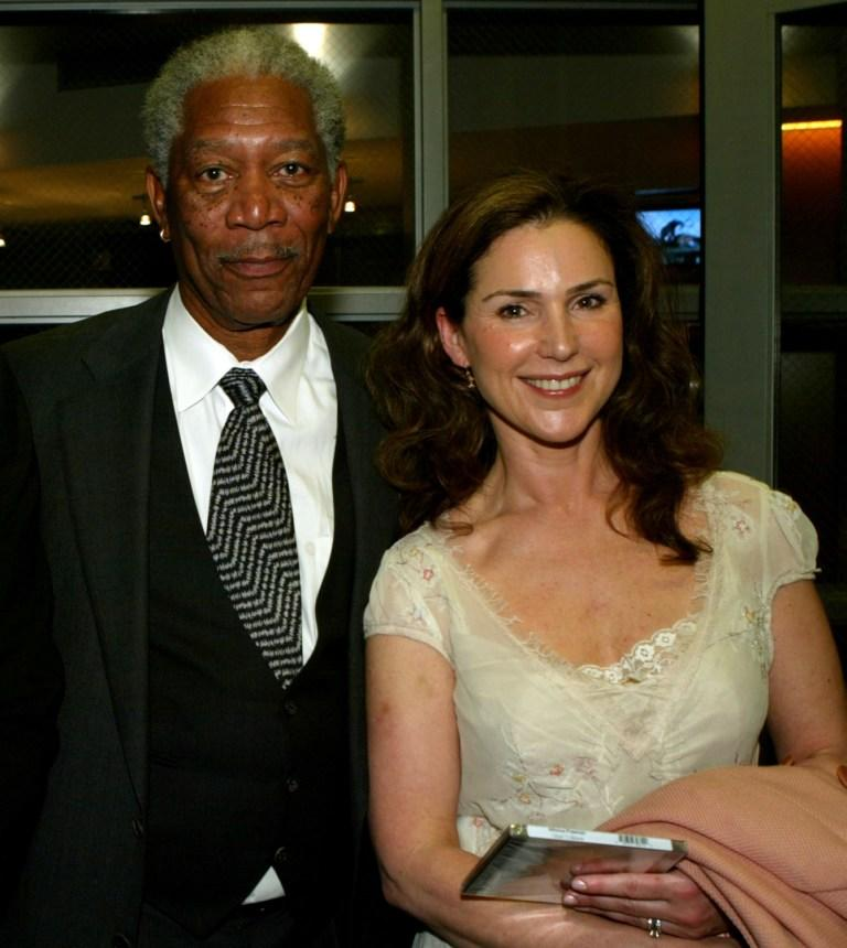 Morgan Freeman and Peri Gilpin at the Revalations Entertainment Party.
