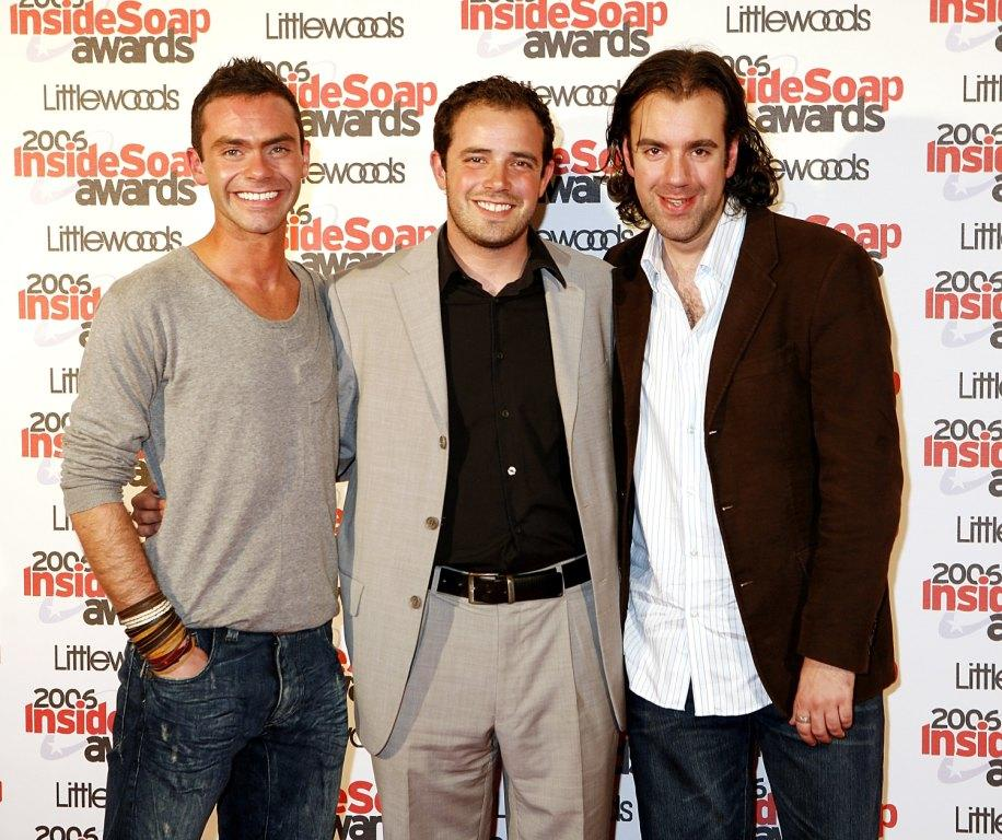 Daniel Brocklebank, Charlie Kemp and Liam O'Brien at the Inside Soap Awards 2006.