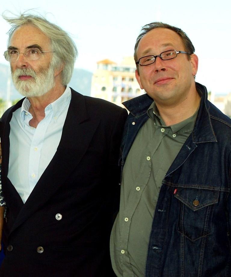 Director Michael Haneke and Olivier Gourmet at the photocall of