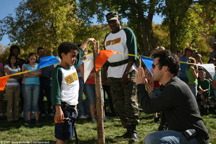 Spencir Bridges, Richard Gant and director Fred Savage on the set of