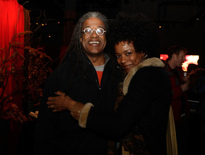 Elvis Mitchell and Leslie Silva at the Film Independent party during the 2008 Sundance Film Festival.